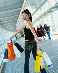 female eco conscious shopper wearing jeans