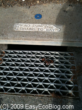 storm drain, flows to the bay