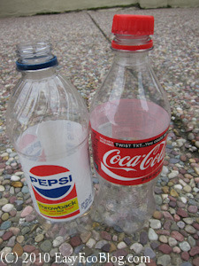 Pepsi and Coke empty plastic soda bottles
