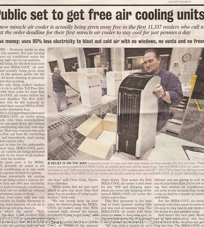 Mira cool Free air cooling unit ad