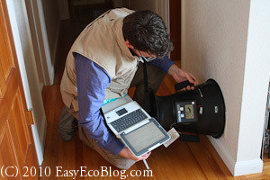 Home Energy Audit air leak test
