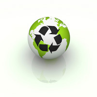 Recycle Symbol on the Globe
